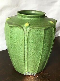 Jemerick Arts & Crafts Style 7 Pottery Vase Matte Green Grueby Style