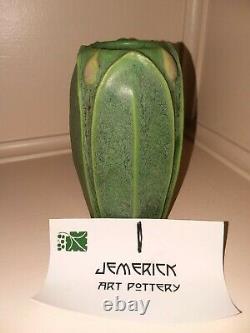 Jemerick Arts & Crafts Style Studio Pottery Vase Matte Green