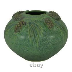 Jemerick Pottery Matte Green Bulbous Pine Cones And Boughs Arts and Crafts Vase