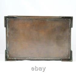Large Antique English Arts & Crafts Hammered Copper Box w Ruskin Pottery Stones
