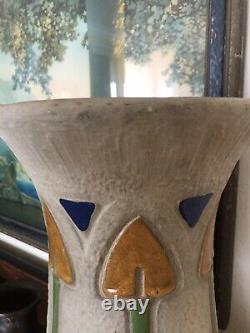 Large Arts & Crafts Roseville Mostique 15 Art Pottery Floor Vase 1915 Signed