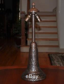 Large Arts and Crafts Slag Glass Lamp with Pottery Base Kiss Brothers