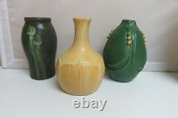 Lot of 3 DOOR Pottery Scott Draves Arts Crafts Vases Grueby Green Yellow Signed