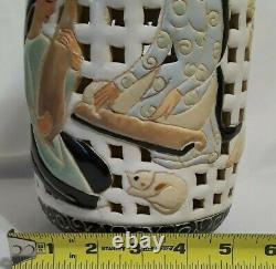 Lovely Vintage DONA Vietnam Hand Crafted Pottery Reticulated Ginger Jar