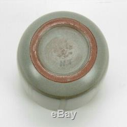 Marblehead Pottery HT plant decorated berry tree Arts & Crafts matte gray blue