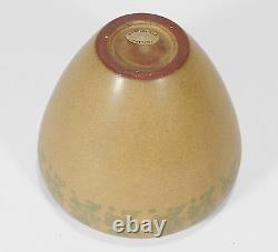Marblehead Pottery HT seaweed decorated vase Arts & Crafts matte yellow green