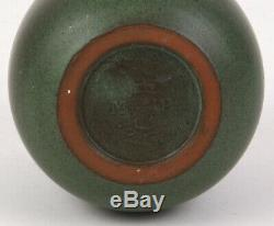 Marblehead Pottery Matte Green Arts And Crafts Vase Decorated