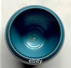 Marblehead Pottery, Tapered Swollen Matte Blue Vase Arts & Craft Marblehead Blue