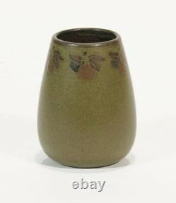 Marblehead Pottery fruit decorated matte green vase HT arts & crafts