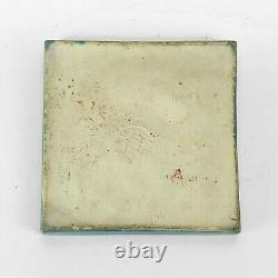Marblehead Pottery tugboat ship ocean decorated Arts & Crafts matte blue tile