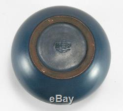 Marblehead Pottery undecorated matte blue spherical vase arts & crafts baggs