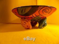 Mary Rose Young- 1995- Art Studio-hand Crafted Pottery-roses Plate- Rose Footed