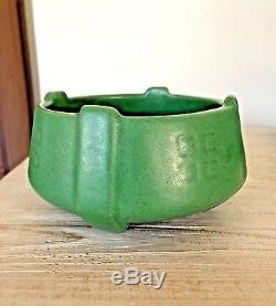 Matte Green Four Buttress Early Weller Bowl Arts & Crafts Era