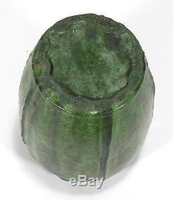 Merrimac Pottery decorated 5 leaf vase arts & crafts curdled semi matte green