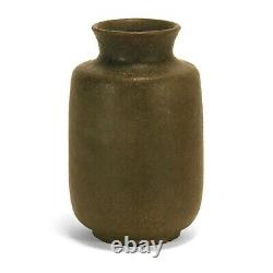 Merrimac Pottery dry matte olive brown glaze vase arts & crafts sturgeon fish