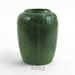 Merrimac Pottery flower decorated vase arts & crafts matte green feathered glaze