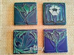 Motawi Tileworks Art Tile POPPY TREE Deco Arts and Crafts Noveau BLUE Set of 4