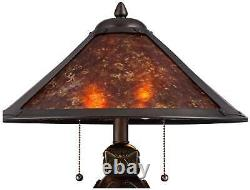 Nell Arts and Crafts Pottery Mica Shade Lamp with Table Top Dimmer