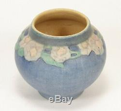 Newcomb College Pottery 1924 AFS 4 3/8 rose vase Arts & Crafts matte blue green