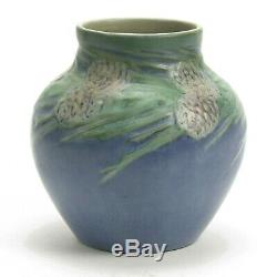 Newcomb College Pottery 1929 HB pine cone needles Arts & Crafts matte blue green