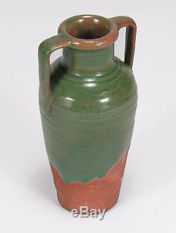 Newcomb College Pottery Joseph Meyer handled green drip red bisque Arts & Crafts