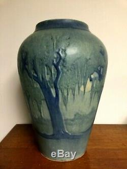 Newcomb College Pottery MOON & MOSS SCENIC VASE Arts & Crafts 11-1/2