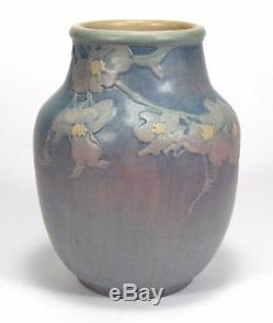 Newcomb College Pottery dogwood vase Arts & Crafts matte blue green pink yellow