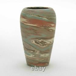 Niloak Pottery Mission ware matte blue brown swirl arts & crafts southern vase