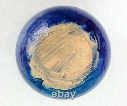 North Carolina Auman Pottery Cole Attribution Blue Mottled 8 Bowl arts & crafts