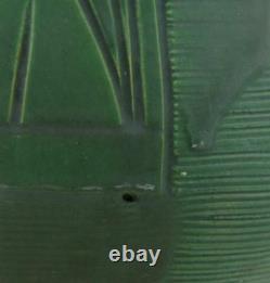 OWENS 7 ARTS & CRAFTS VASE BY HCP WithCARVED LINES/LEAF MOTIF MATTE GREEN GLAZE