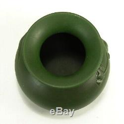 Ouachita Pottery Hot Springs rare dogwood carved matte green vase arts & crafts