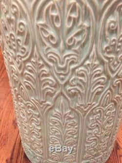 Outstanding Vintage Arts & Crafts Mint Green Pottery Umbrella / Cane Stand