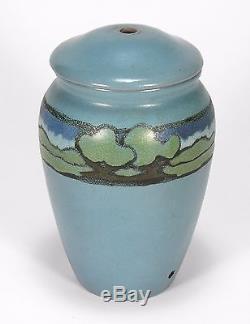 PRP Saturday Evening Girls pottery landscape vase lamp arts & crafts matte blue