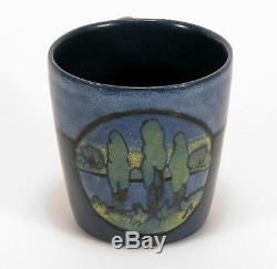 PRP Saturday Evening Girls pottery mug tree landscape arts & crafts blue SEG