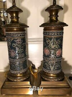 Pair of Antique Doulton Lambeth Arts & Crafts Pottery Lamps SL