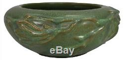 Peters and Reed Persian Ware Dark Matte Green Arts and Crafts Bowl