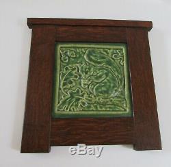 Pewabic Detroit Green Squirrel Tile Oak Arts & Crafts Display Frame