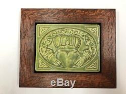 Pewabic Pottery Claddagh Leaf Art Tile Arts & Crafts Mission Oak Park Frame