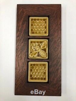 Pewabic Pottery Honeybees Triptych Art Tile Craft Mission Style Family Woodworks