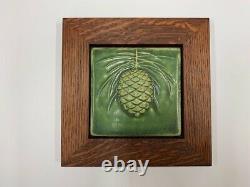 Pewabic Pottery Pinecone Green Tree Art Tile Arts Crafts Mission Oak Park Frame