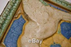 RARE Grueby Faience Tile Bird Matte Gloss Arts & Crafts Raised Impression Pardee