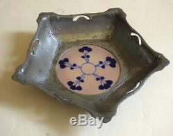 ° RARE OSIRIS Zsolnay inlay PEWTER & Ceramic ART NOUVEAU Bowl 556 arts Crafts