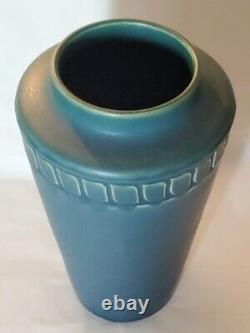 ROOKWOOD POTTERY MATT Dark BLUE VASE 8 1/4 1916 Shape 1918 Arts & Crafts Tooled
