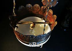 Rare 1930s Danish Deco art & craft hammered bronze Opaline church pendant light