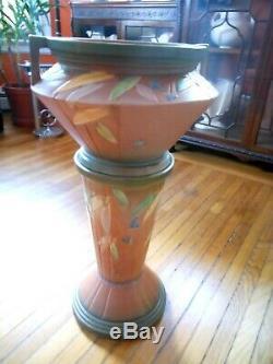 Rare Arts & Craft Art Deco Roseville Futura Jardiniere & Pedestal