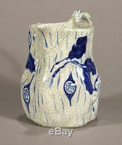 Rare Dedham Pottery antique Oak Block Pitcher arts & crafts crackle ware blue