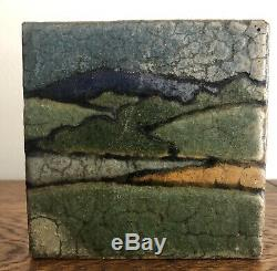 Rare Grueby Pottery Colorful Arts & Crafts Framed Landscape Tile Artist Initials