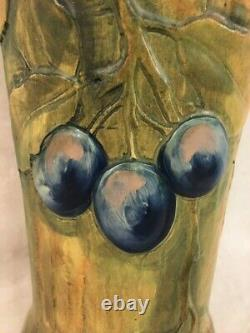 Rare Large Antique Arts & Crafts Pottery Vase with Plums c. 1915, Signed Weller