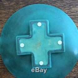 Rare Large Teco Pottery Matte Green Prairie Arts & Crafts Footed Bowl Shape 340