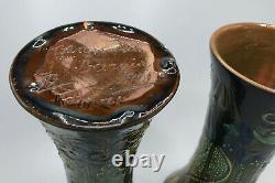 Rare Pair Vases Brannam Barnstaple Barum Arts & Crafts Pottery Art Nouveau 1901
